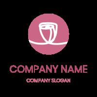 White Rose Silhouette in Circle Logo Design