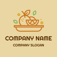 Fruit Plate with Lemon and Apple Logo Design
