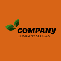 Green Leaves on the Orange Background Logo Design