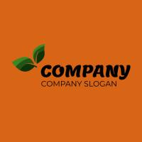 Green Leaves on the Orange Background Logo Design