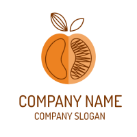 Half of Peach with Brown Leaves Logo Design