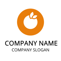 Orange Silhouette with Two Leaves Logo Design