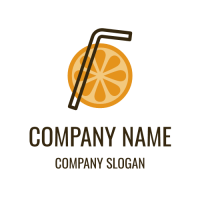 Orange Slice and Black Straw Logo Design