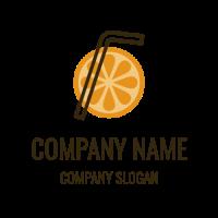 Orange Slice and Black Straw Logo Design