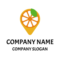 Orange Slice Inside a Navigation Point Logo Design