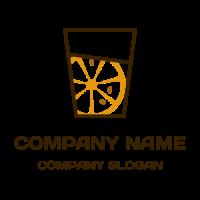 Orange Slice with Three Pits in a Glass Logo Design