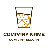 Orange Slice with Three Pits in a Glass Logo Design