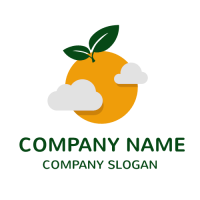 Orange Sun with Grey Clouds Logo Design
