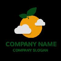 Orange Sun with Grey Clouds Logo Design