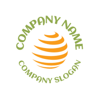 Silhouette of Orange Peel with Curved Text Logo Design