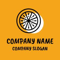 Wheel Shaped Orange Slice with Shadow Logo Design