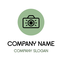 Camera Click and Green Circle Logo Design