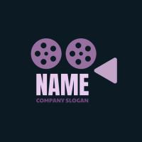 Retro Cinema Camera on Dark Background Logo Design