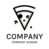 Pizza Logo | Cartoon Black and Grey Piece