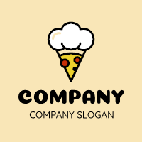 Chef Pepperoni Pizza Slice Logo Design