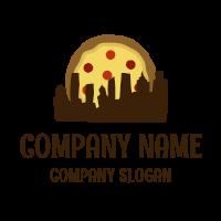 Pizza Logo | Dark Brown City Silhouette