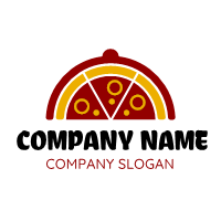 Dish Cover with Three Slices Logo Design