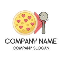 Pizza Logo | Heart Pepperonis and Napkin