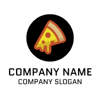 Pizza Logo | Minimalist Black Cheese Emblem