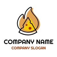 Modern Slice and Fire Logo Logo Design