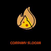 Modern Slice and Fire Logo Logo Design