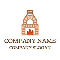 Red Flames in Stone Oven Logo Design
