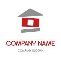 Buildable Abstract Red Cottage Logo Design