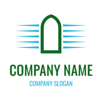 Green Arch with Blue Walls Logo Design