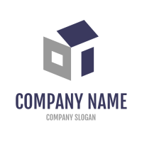Grey and Blue Construction Logo Design