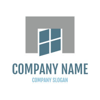 Grey Wall and Moving Window Logo Design