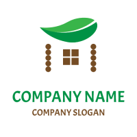 House with a Green Leaf Roof Logo Design