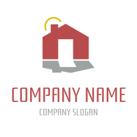 Realestate & Property Logo | Small Red House and Shadow