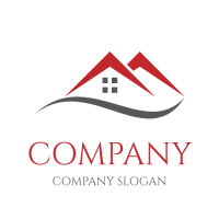 Realestate & Property Logo | Two Red Cottages and Grey Line
