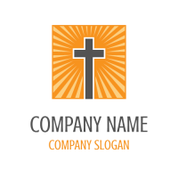 Cross on the Background with Rays Logo Design