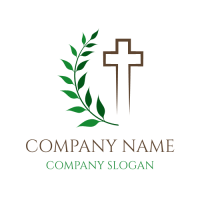 Cross Silhouette and Green Branch Logo Design