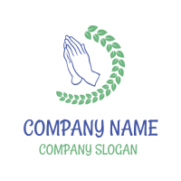 Curved Branch and Silhouette of Hands Logo Design