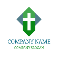 Four Elements Forming a Cross Logo Design