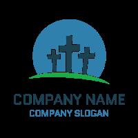 Three Crosses Against a Blue Sky Logo Design