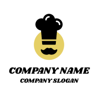 Bakers Silhouette with Mustache Logo Design