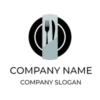 Black Plate with Cutlery and Napkin Logo Design