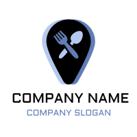 Restaurant Logo | Fork and Spoon with Blue Elements