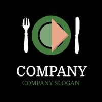Restaurant Logo | Green Plate with Orange Napkin