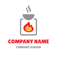Hot Food Cooking on Fire Logo Design