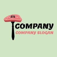 Raw Meat Steak on the Fork Logo Design