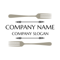Restaurant Logo | Two Silver Forks Laying on Surface