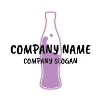 Purple Ocean in Soda Bottle Logo Design