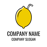 Sour Yellow Lemon with Straw Logo Design