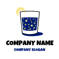 Starry Night in Glass and Moon Logo Design