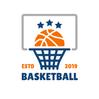 Basket Ball with Blue Stars Logo Design