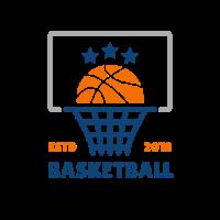 Basket Ball with Blue Stars Logo Design